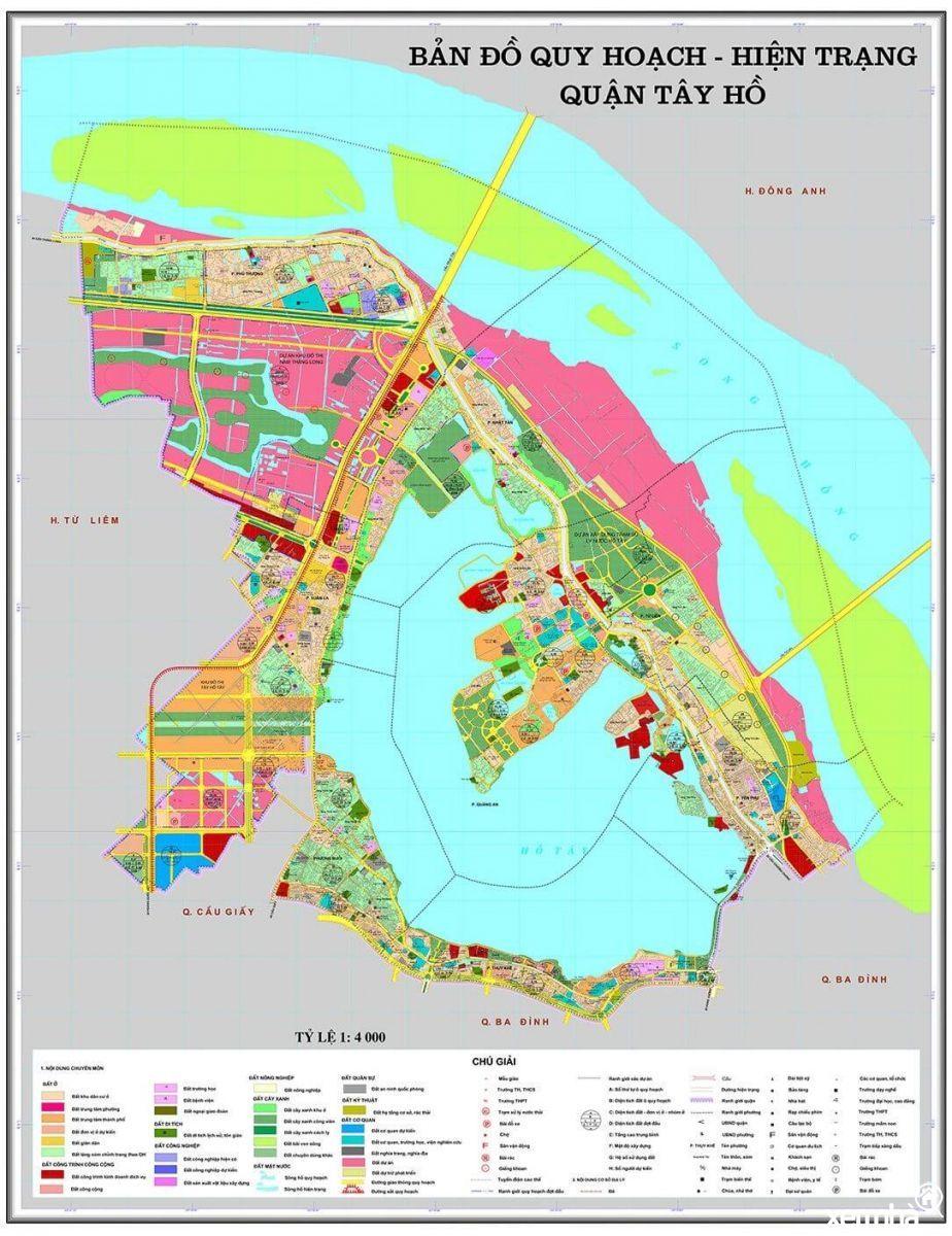 Bản đồ quy hoạch quận Tây Hồ