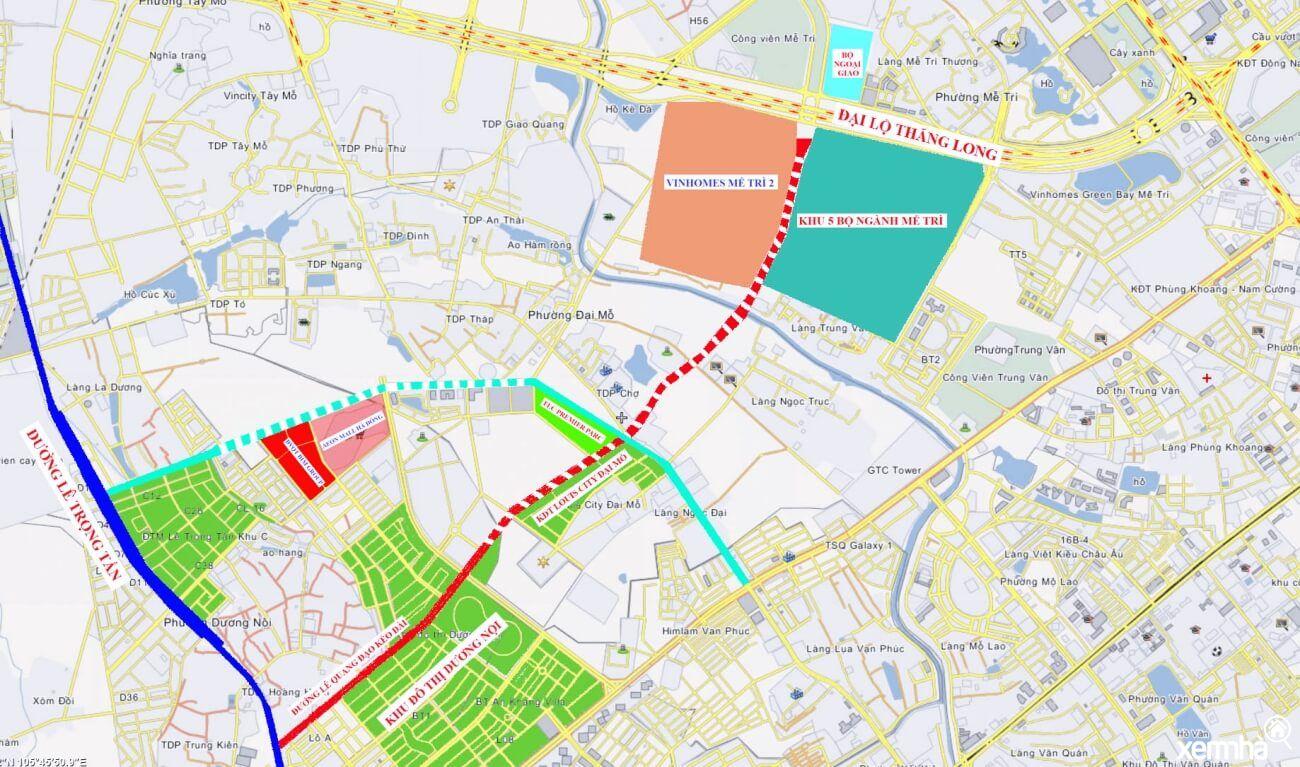 Bản đồ quy hoạch đường Lê Quang Đạo kéo dài
