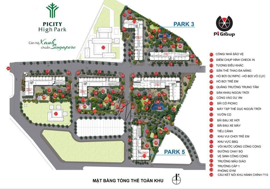Bản đồ tiện ích Picity High Park