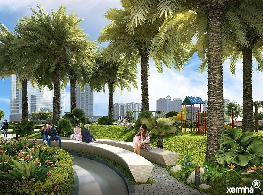 Cảnh quan xanh Vinhomes Phạm Hùng