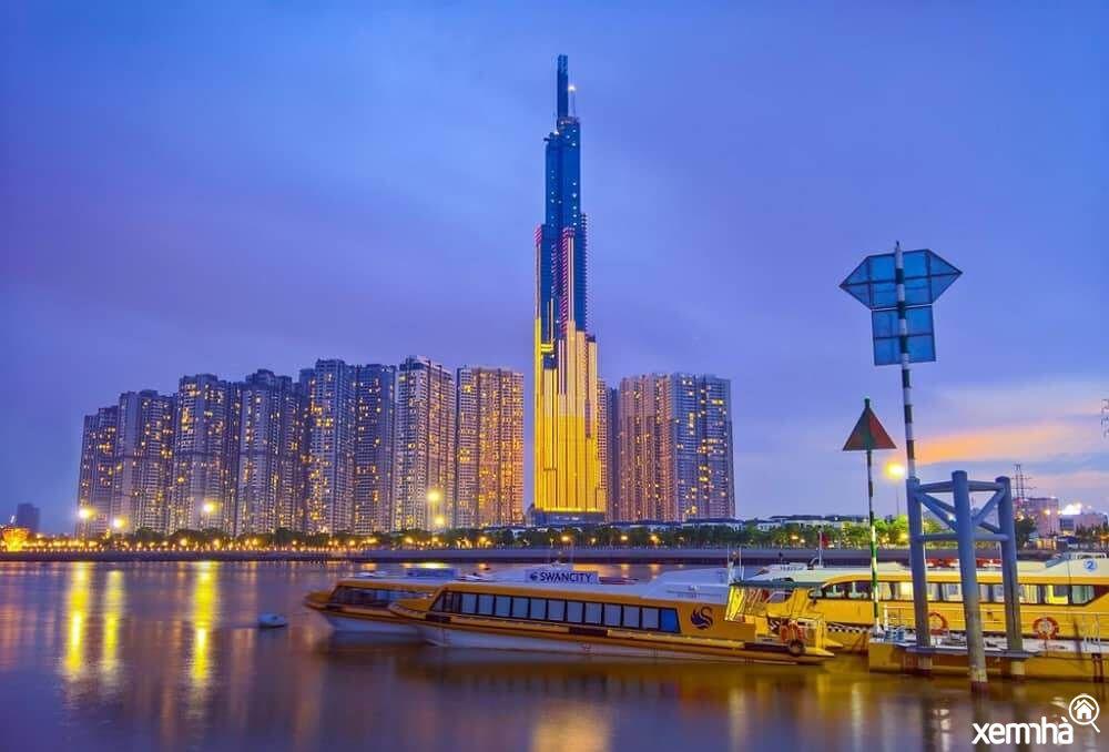 Toàn cảnh tòa Landmark 81 bên bờ sông Sài Gòn