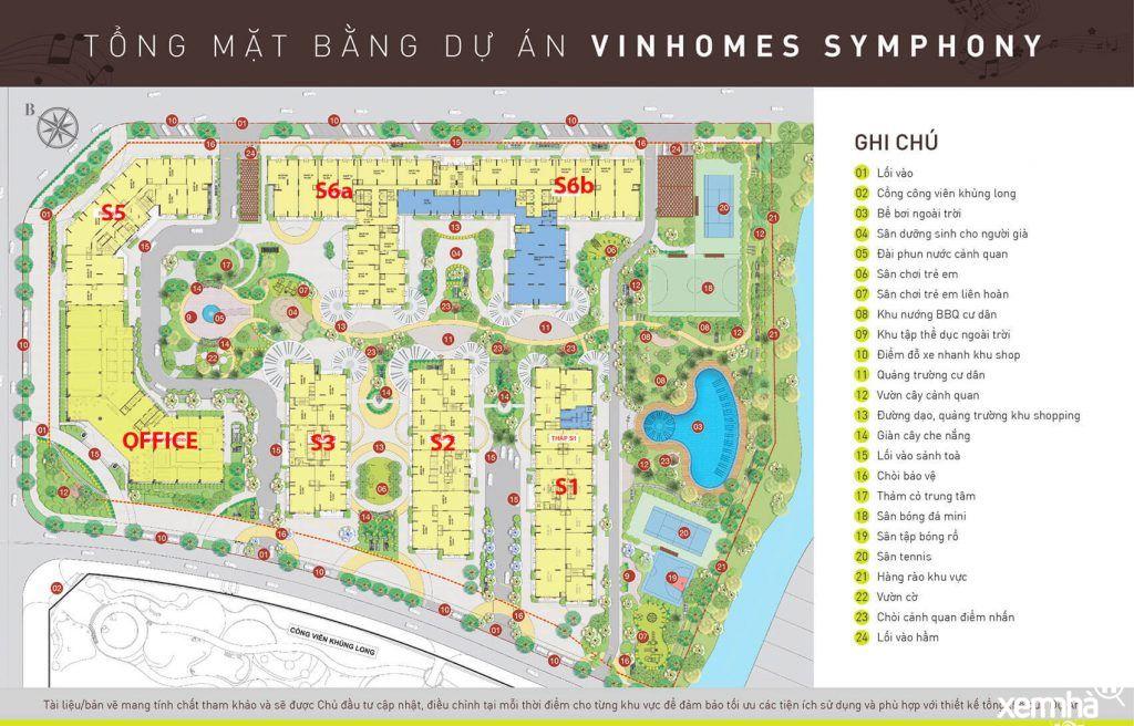 Mặt bằng tổng thể Vinhomes Symphony