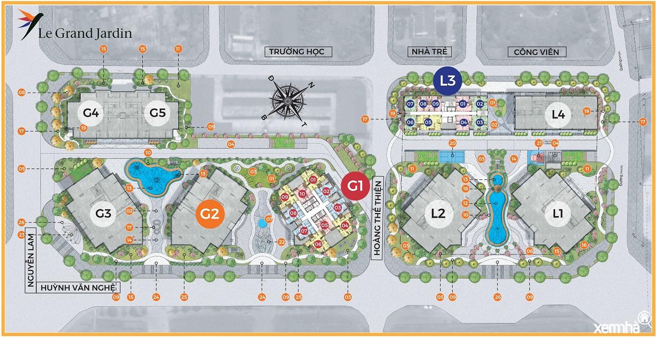Quy hoạch tổng thể chung cư The Le Grand Jardin