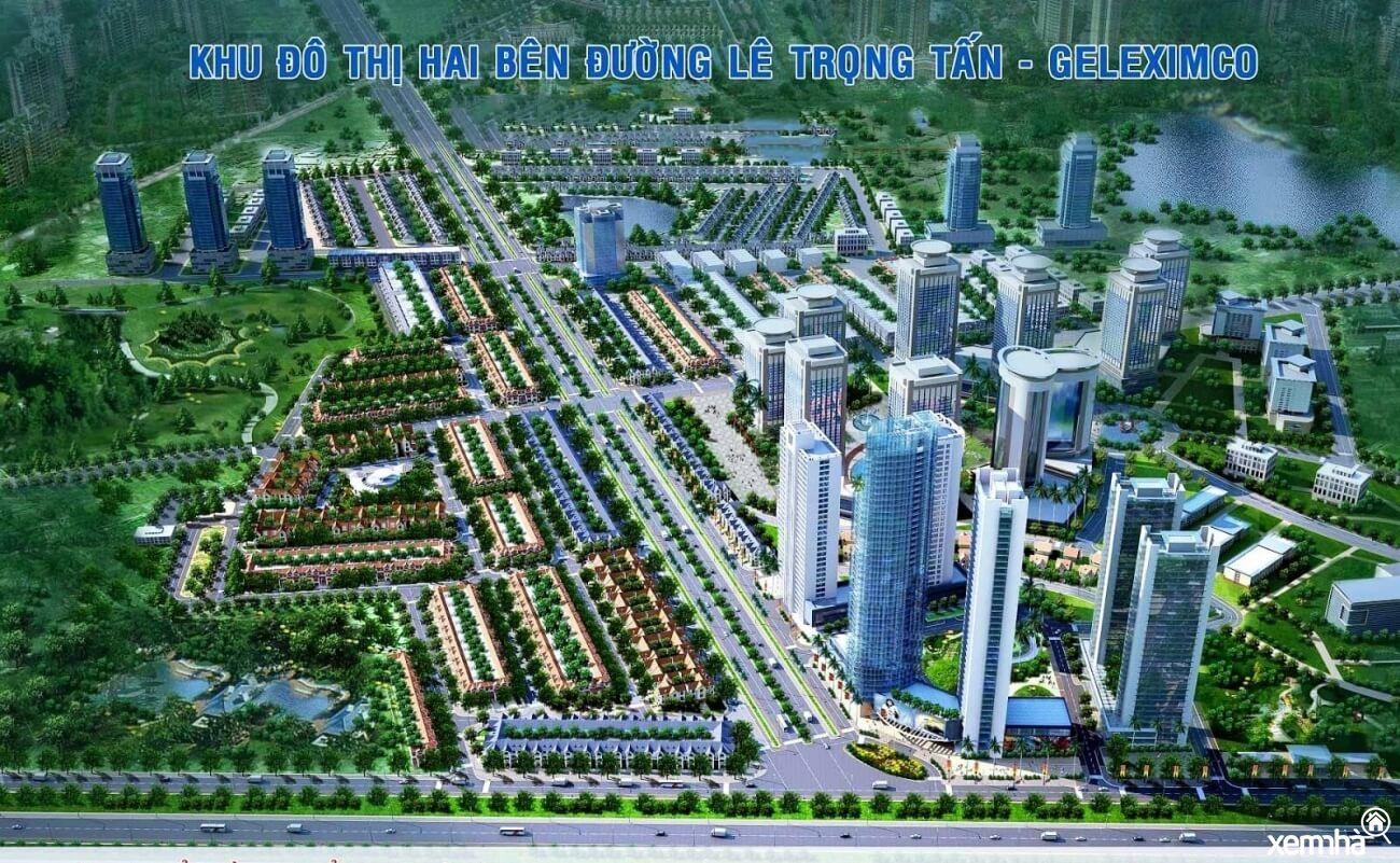 Phối cảnh khu đô thị Geleximco Lê Trọng Tấn