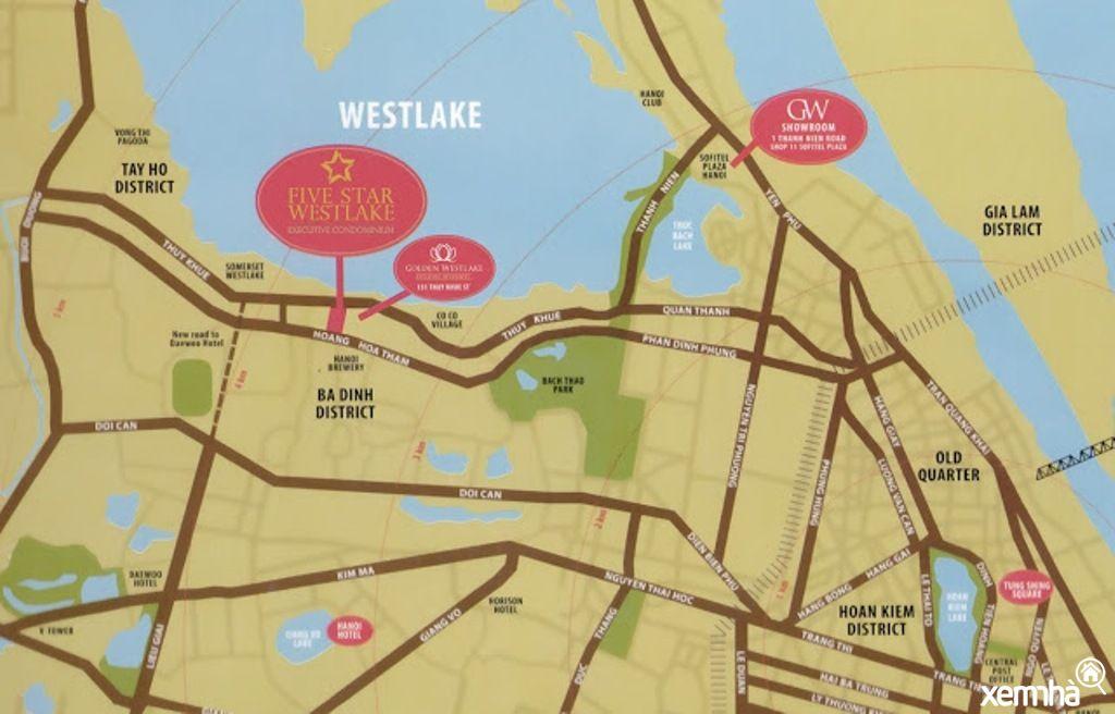 Vị trí dự án chung cư Five Star West Lake